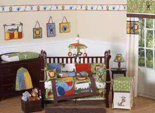JUNGLE THEME SAFARI CHEAP BOY BABY BEDDING 9p COMFORTER CRIB SET ROOM