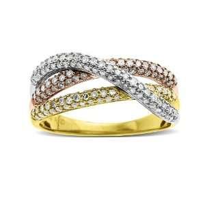 14k Yellow Gold Intertwined Diamond Ring, Size 6 Jewelry