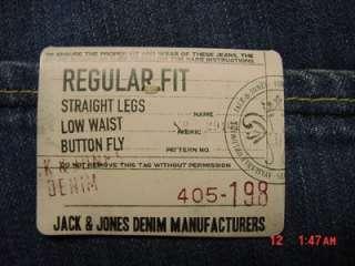 JACK & JONES STRAIGHT LEG LOW WAIST BUTTON FLY JEANS