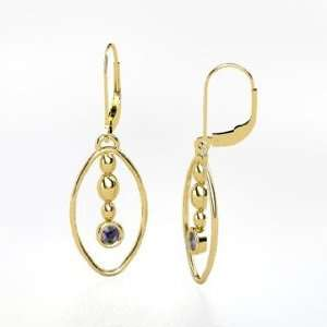 Sprout Earrings, 14K Yellow Gold Earrings with Iolite Jewelry