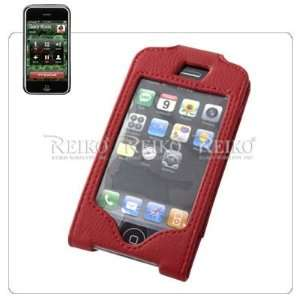 APPLE IPHONE GENUINE LEATHER POUCH CASE W. SWIVEL BELT CLIP * DARK RED
