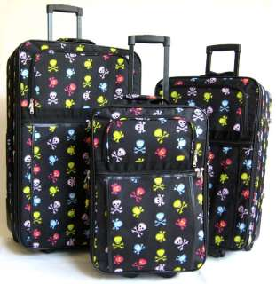 Piece Luggage Set Travel Bag Skulls Rolling Wheel NEW