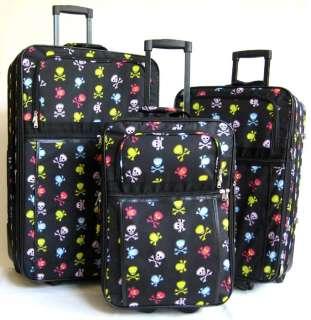 Piece Luggage Set Travel Bag Skulls Rolling Wheel NEW