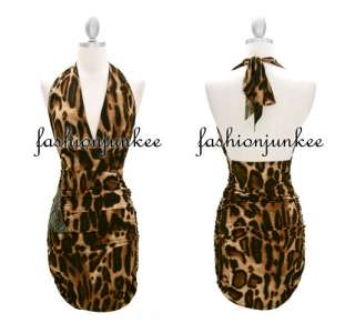 LEOPARD PRINT Beaded HALTER Dress Low Cut Plunging Mini Sexy Short