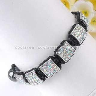 colors Crystal Rhinestone Square Beads Hematite Woven Bracelet