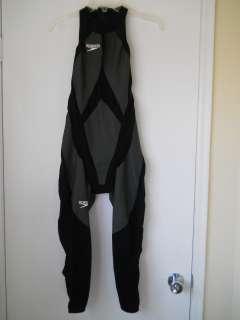 kv) Speedo triathlon body swimsuit sleeveless long leg zipper back
