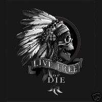 LIVE FREE OR DIE Freedom INDIAN Skull Bandanas *US MADE