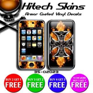 iPod Touch 3rd gen skin   SKULLS IRON CROSS ON FIRE