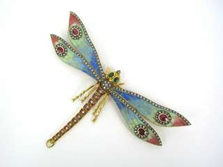 70s Plique a Jour Multi Color Enamel Diamond Emerald Ruby Dragonfly