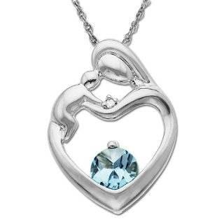 Round Aquamarine and Diamond Accent Mothers Jewel Heart Pendant, 18