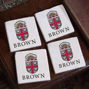 Brown Logos Marble Coasters: Sports & Outdoors