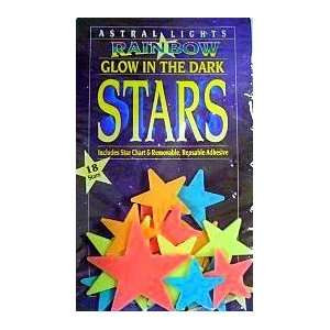 Big Glow In The Dark Rainbow Stars ~ Includes Star Chart and Reusable