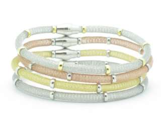 TRI COLOR PLATINUM SILVER MESH DESIGN BANGLE BRACELET