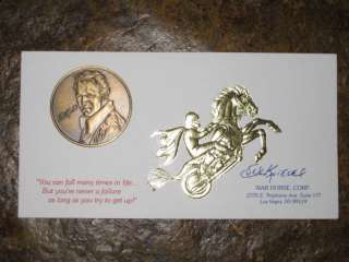 Evel Knievel Bronze Coin & RARE GOLD Foil Business Card