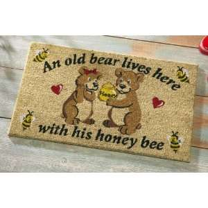 Old Bear And His Honey Front Door Welcome Mat By Collections Etc