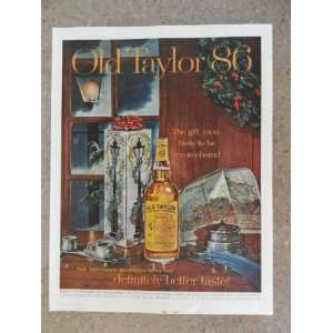 Taylor 86 Whiskey,Vintage 60s full page print ad.(beautiful Holidays