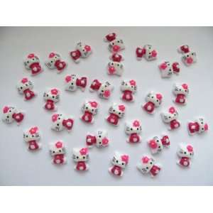 Nail Art 3d 40 Pieces Hot Pink Hello Kitty for Nails, Cellphones 1.3cm