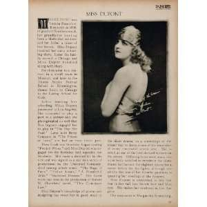 1923 Miss Dupont Silent Film Actress Biography Print