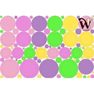 Dots and Circles Assorted Pastel Wall Decor skin   95 Piece set by