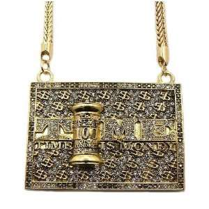 Gold Iced Out Time Is Money Pendant and 36 Inch Franco