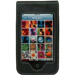 Black Leather Case with a Belt Clip for iPod Touch iTouch