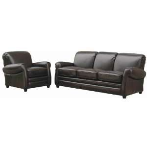 Wholesale Interiors Dark Brown Full Leather Espresso Sofa