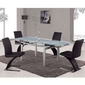 Top Dining Room Set w/ Black Chairs 88D frbl dr set