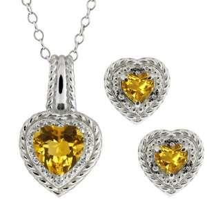 Shape Yellow Citrine 10k White Gold Pendant Earrings Set Jewelry