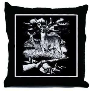 Throw Pillow Deer Hunting Buck Doe Rifle and Hat