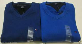 Tommy Hilfiger Mens Royal Blue V Neck Sweater 2 Shades