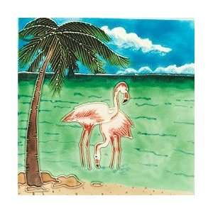 Flamingo Palm Tree Ceramic Wall Art Tile 4x4 Coaster: Home