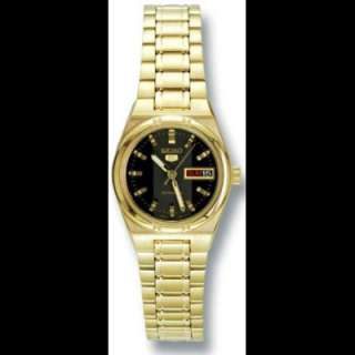 Seiko SYM602 Ladies GoldTone Automatic Black Dial Watch