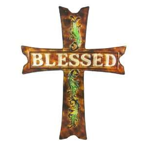 Hand Painted BLESSED Cross Wall Hanging Christian: Home & Kitchen