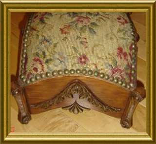 ANTIQUE Victorian Needlepoint Petit Point Footstool