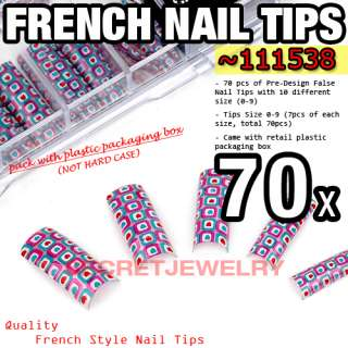 70 pcs Acrylic Nail Tips French Tips Nail Art Design Manicure Lovely