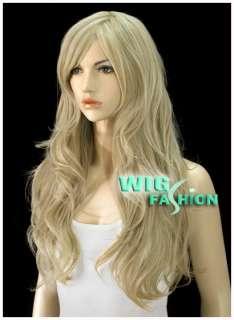 53cm Long Wavy Light Blonde Hair Wig MA45