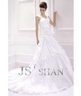Jsshan White Satin Beading Embroidery Ball Bridal Gown Wedding Dress