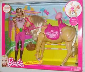NIB Mattel Barbie Tawny Walking Horse & Doll Set