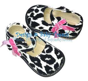 Squeaky Shoes Toddler Black & White Mary Jane BRAND NEW Cow Print Hot