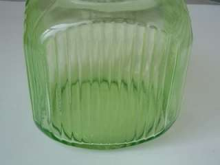 Vtg Green Depression Glass Cookie Jar Hoosier Pantry Ribbed Jar