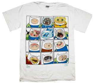 Adventure Time Faces Of Finn Cartoon T Shirt Tee