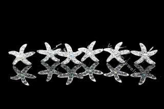 Bridal Party Wedding Prom Starfish Crystal Hair Pins