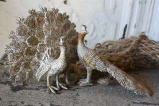 CHIC S/2 Gilt PEACOCK FIGURINES Fanned Iron Metal NEW