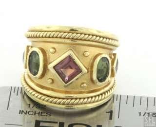 SEIDENGANG HEAVY 18K GOLD 3.0CT PINK/GREEN TOURMALINE COCKTAIL RING