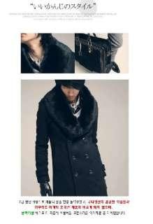 2010 Men Slim Fit Fashion Fur Collar Long Trench Coat