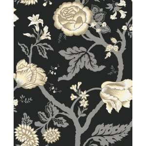 Kendal Floral Trail Black and Sterling Wallpaper in Shand Kydd