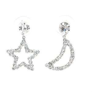 Perfect Gift   High Quality Star & Moon Earrings with Silver Swarovski