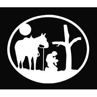 Cowboy Praying at the Cross W/Horse Religious Vinyl Decal Sticker 6