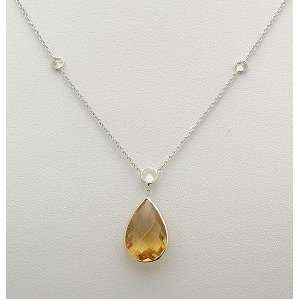 White Gold Necklace/Pear Shaped Citrine & Czs 16