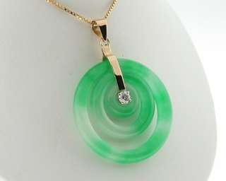 Genuine Diamond Jade Solid 18k Gold Round Circles Pendant